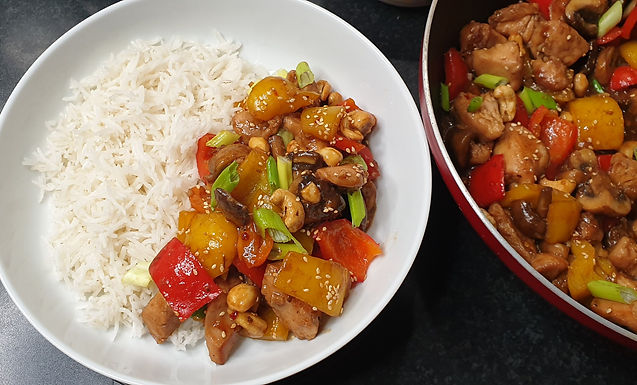 Honey Cashew Chicken with Mushroom and Pepper