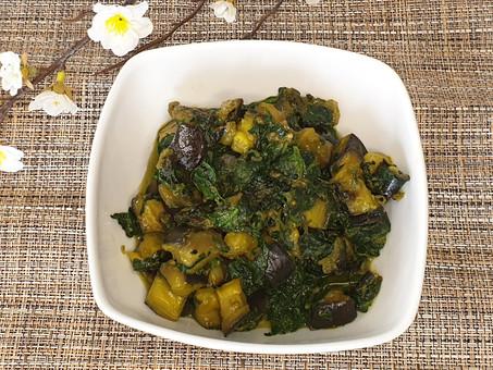 Aubergine & Spinach