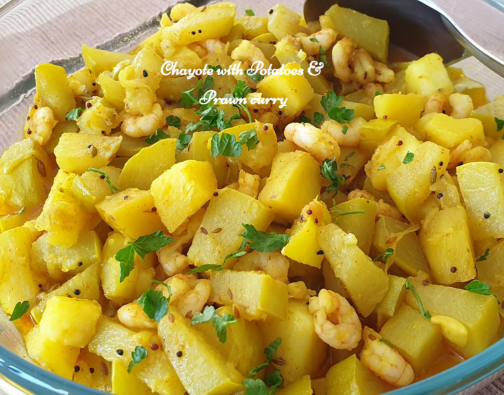 Chayote with potatoes & prawns