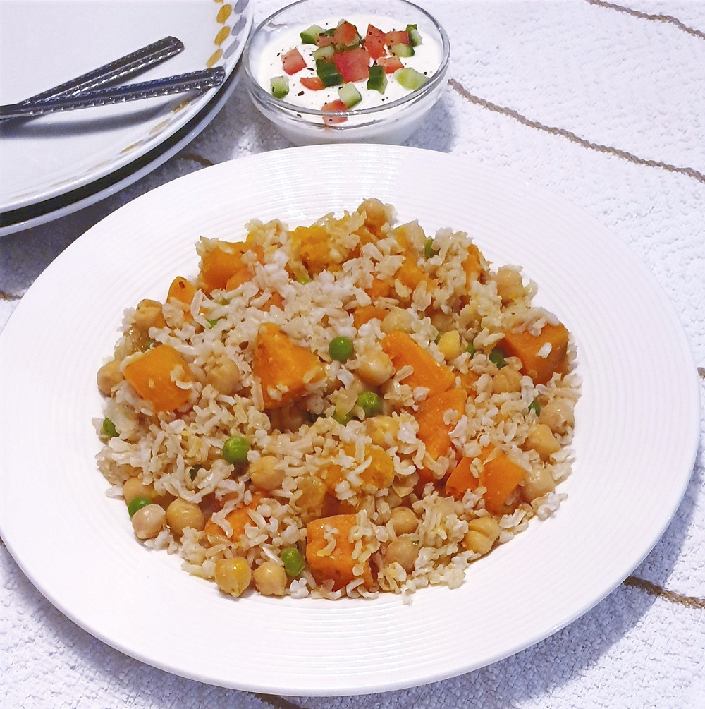 Brown Basmati rice with sweet potatoes and chickpea