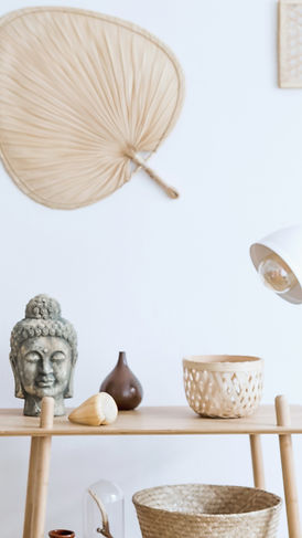 Buddha, Fan, and Pots