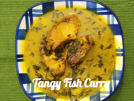 Maasor Tenga -Tangy Fish Curry with Leafy Greens