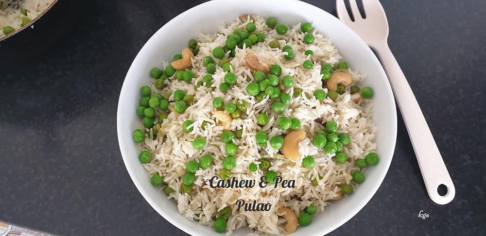 Pea and Cashew Rice Pulao