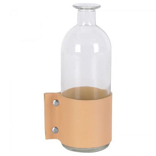 Vase bouteille anse cuir