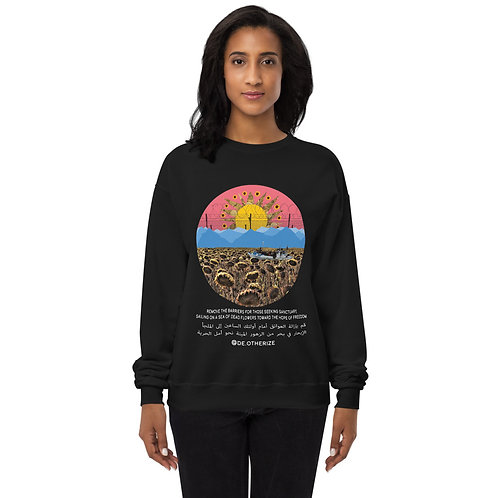 Sea of Dead Flowers | الإبحار في بحر الزهور الميتة | white all gender sweatshirt