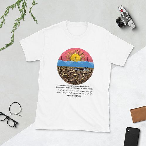 Sea of Dead Flowers | الإبحار في بحر الزهور الميتة | white all gender t-shirt