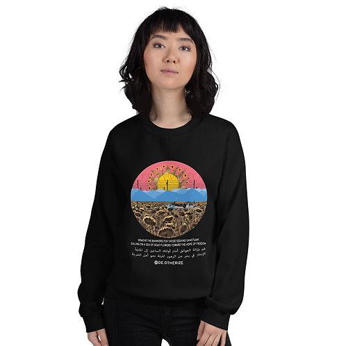 Sea of Dead Flowers | الإبحار في بحر الزهور الميتة | Black all gender sweatshirt