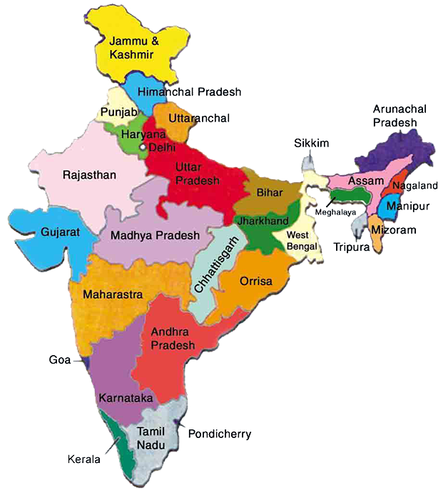 indian map showing states, india, location of india