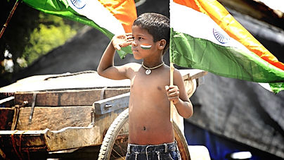 Boy saluting indian flag