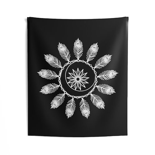 Peacock Moon - Black Tapestry