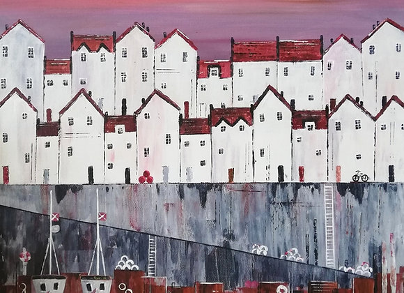 'Red Roofs' 50 x50cm canvas print