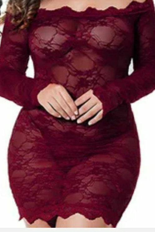 Wine lace pantie dress set