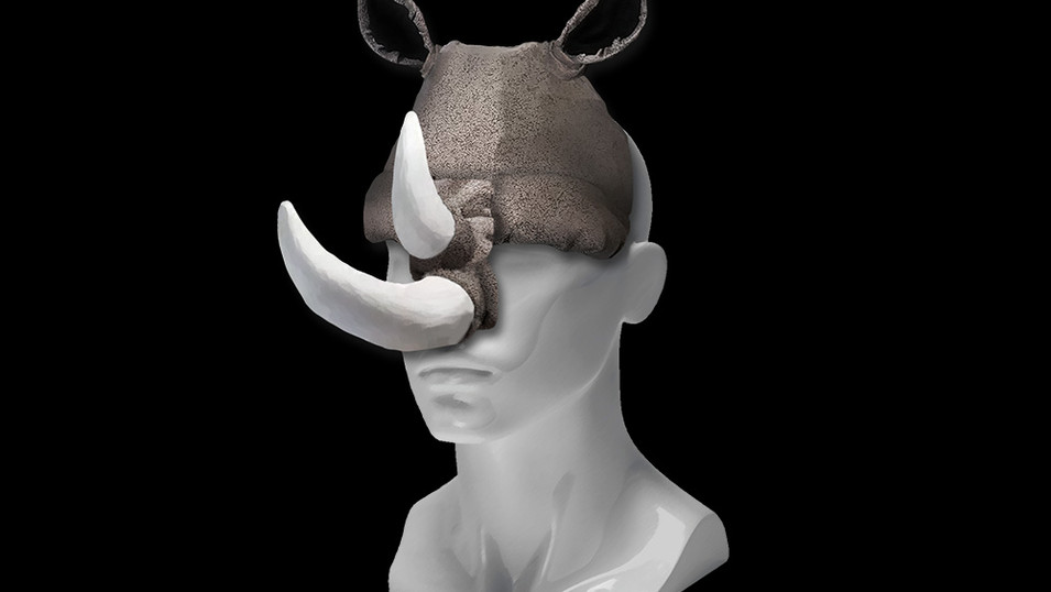 Rhinoceros Headwear Sculpture