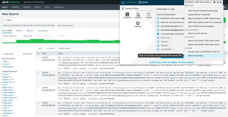 Figura 1. Con la extensión del navegador de cinta SecureX, extraiga observables de herramientas de terceros como Splunk y tome medidas de respuesta.