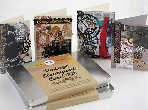 Vintage Steampunk Handmade Card Making Kit- Makes 8 Cards