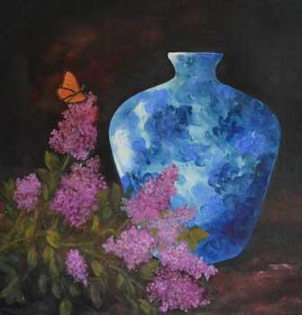 Blue Jar & Butterfly