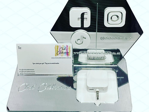 square space holder and social media signs