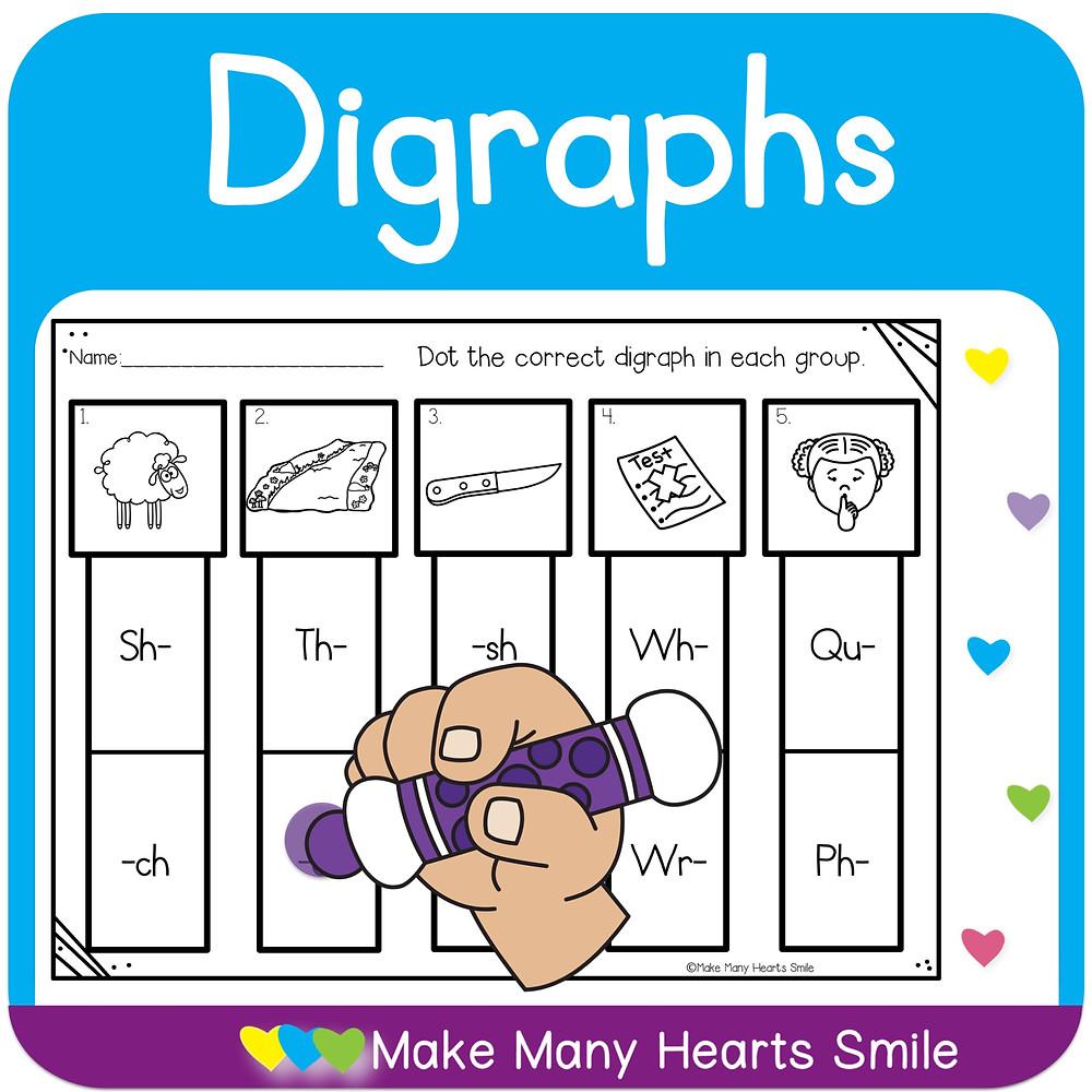 Digraphs Dot a Clip Worksheets