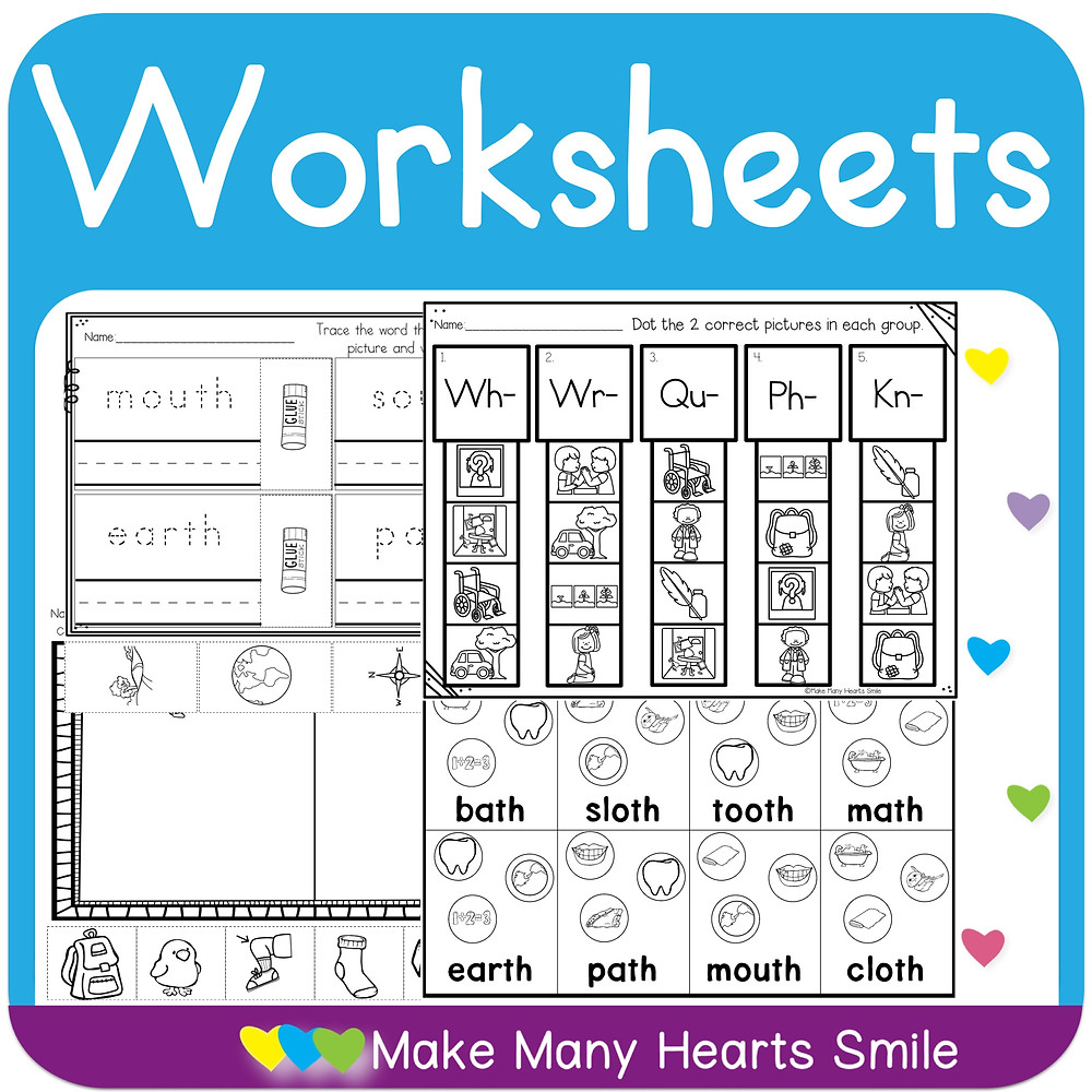 More worksheets included in the digraphs bundle