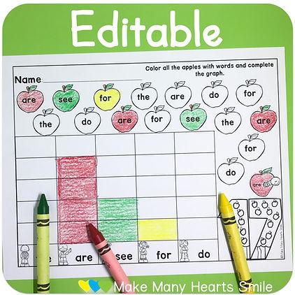 Editable Apples Sight words