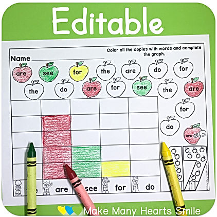 Editable Apples Sight words