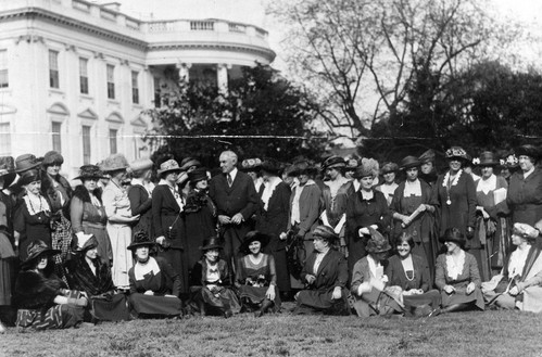 Suffragets present the Equal Rights Amendment to Warren Harding