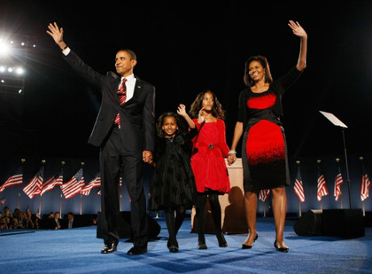 Barack and Michelle Obama, Election Night 2008