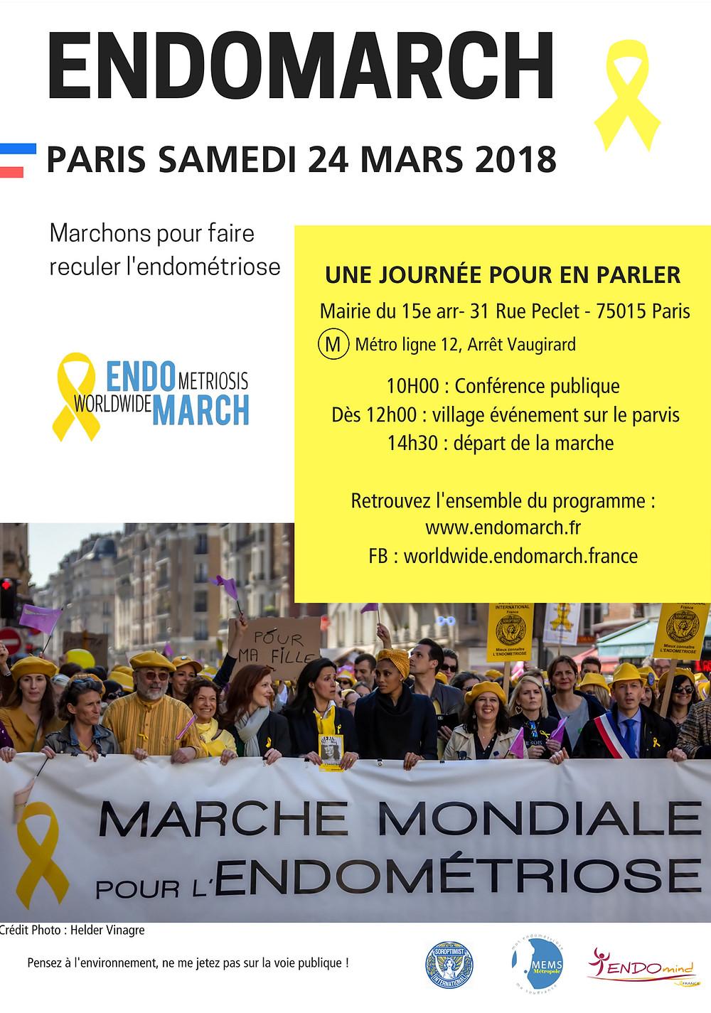Marche mondiale pour l'endometriose 24 mars 2018