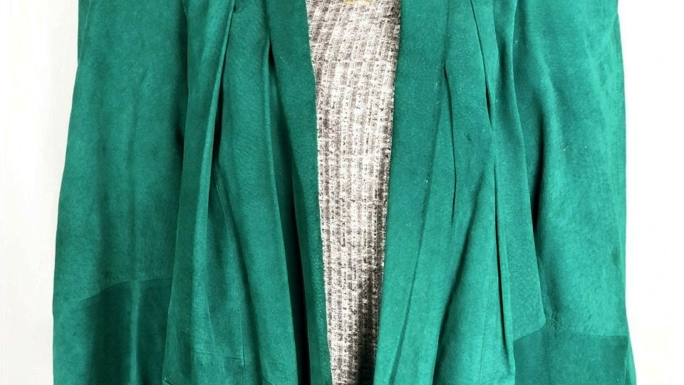 Green Leather 100% Coat