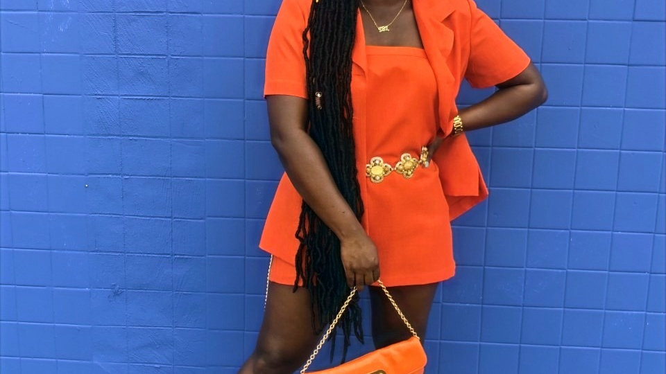 Helene Blake Orange Skirt Set