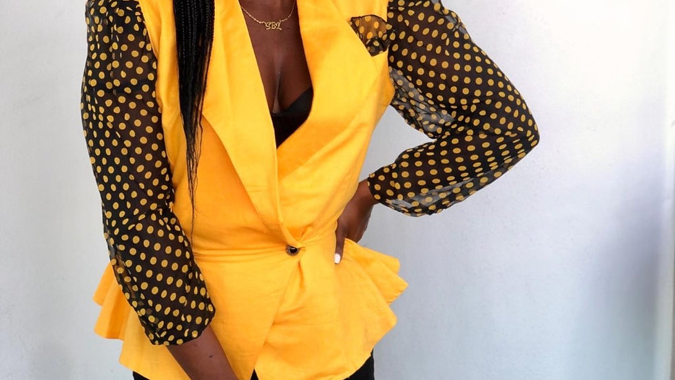 Yellow Polka Dot Blazer