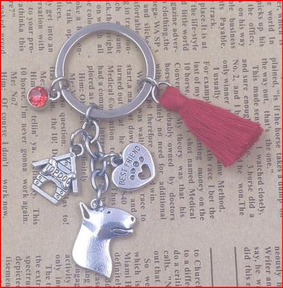 Bull Terrier key Ring Red Tassle
