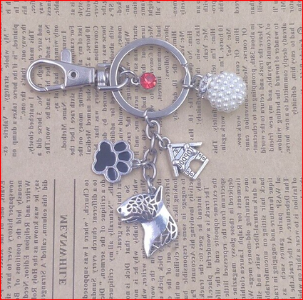 Bull Terrier Key Ring with Black Paw