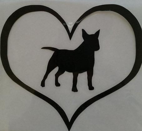 Bull Terrier in heart car sticker