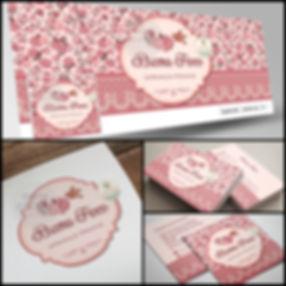 Logotipo floral romântico. Logotipo vintage. Capa de Facebook floral romântico. Cartão de Visitas floral romântico