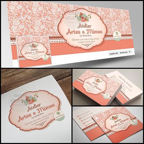 Logotipo floral. Logotipo vintage. Logotipo para Artesã. Capa de Facebook floral. Cartão de Visitas floral. Cartão de Visitas para Artesã.