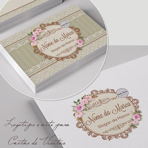 Logotipo floral vintage. Capa para Facebook floral vintage. Arte para cartão de visitas floral vintage. Tag floral vintage.