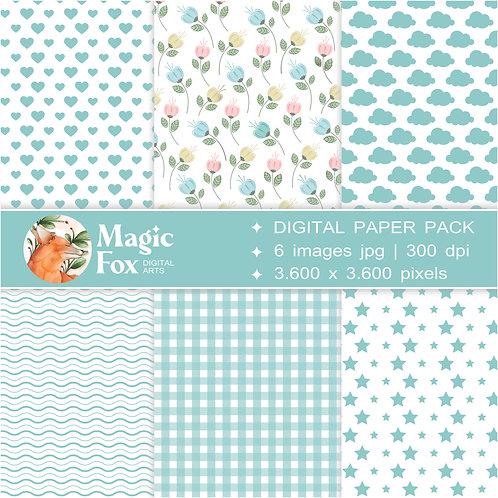 papéis digitais para scrapbook, decoupage, colagens em bullet journal, diários, planners, cadernos e agendas.