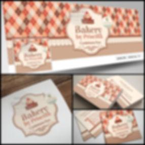 Logotipo para Confeitaria. Logotipo vintage. Capa de Facebook para Confeitaria. Cartão de Visitas para Confeitaria. Tag para Confeitaria.