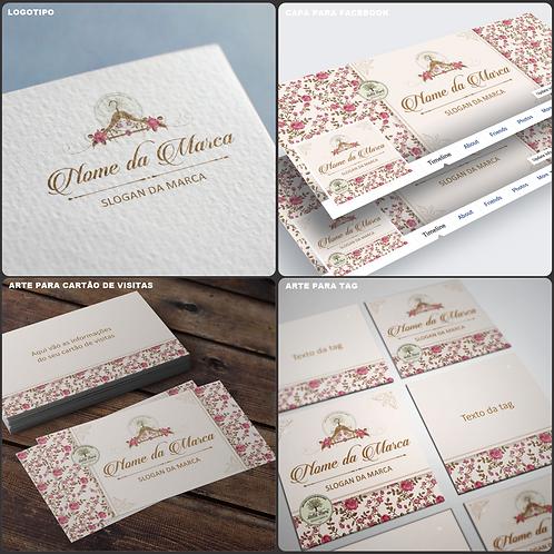 Criação de logotipo floral para Moda Feminina. Capa para facebook Moda Feminina. Cartão de Visitas floral Moda Feminina.