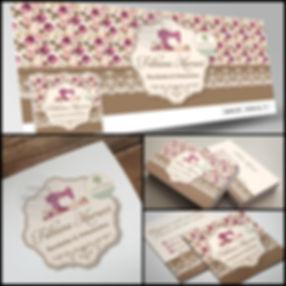 Logotipo floral. Logotipo vintage. Logotipo com máquina de costura. Capa para Facebook floral com máquina de costura. Cartão de Visitas floral com máquina de costura.