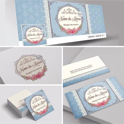 Logotipo floral vintage. Capa para Facebook flora. Cartão de Visitas floral vintage. Tag floral vintage.