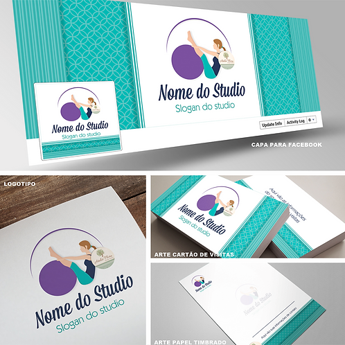 "Combo com Logotipo + 3 itens: ""Studio Pilates"""