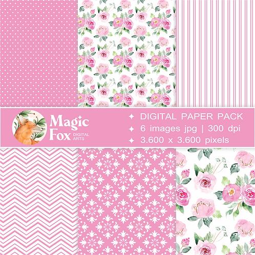 papéis digitais para scrapbook, decoupage, colagens em bullet journal, planner, cadernos e diários. Poás, listras e floral.