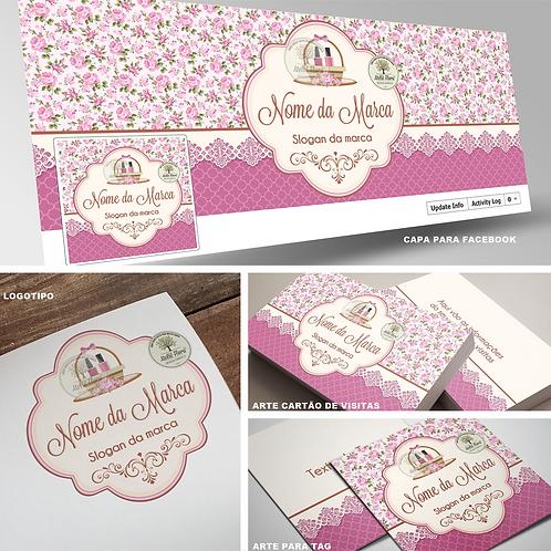 "Combo com Logotipo + 3 itens: ""Esmalteria Floral"""