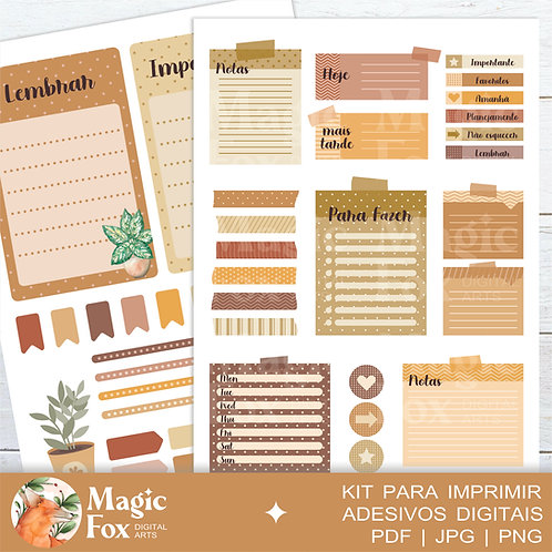Kit Digital: Adesivos para Planner (ref: 02)