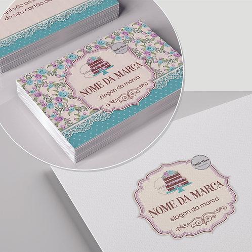 """Kit: Logotipo + Arte para Cartão de Visitas: """"Confeitaria Floral 10"""""""