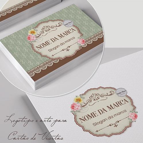 Logotipo floral vintage. Capa para Facebook floral vintage. Cartão de visitas floral vintage. Tag floral vintage.