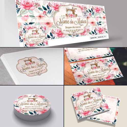 Logotipo floral artesanato; Cartão de Visitas floral artesanato; Capa para Facebook, Tag floral artesanato; Adesivo floral;