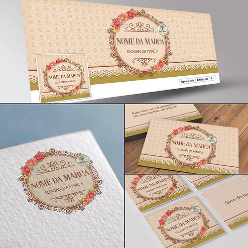 Logotipo floral vintage, Capa Facebook floral vintage, Cartão de Visitas floral vintage, Tag floral vintage.